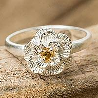 Citrine flower ring, 'Lamphun Jasmine' - Feminine Sterling Silver Floral Ring with Citrine