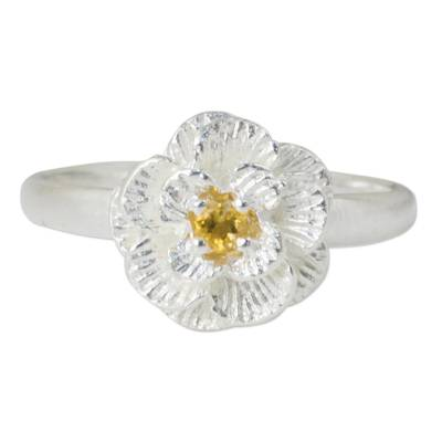 Feminine Sterling Silver Floral Ring with Citrine