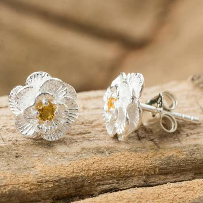 Citrine button earrings, 'Lamphun Jasmine' - Thai Handcrafted Citrine and Sterling Silver Floral Earrings