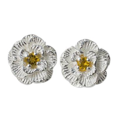 Thai Handcrafted Citrine and Sterling Silver Floral Earrings