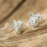 Peridot button earrings, 'Chiang Rai Camellia' - Thailand Artisan Crafted Floral Silver and Peridot Earrings
