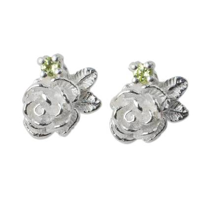 Thailand Artisan Crafted Floral Silver and Peridot Earrings
