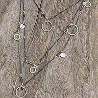 Tourmaline wrap necklace, 'Waterfall Harmony' - Multi Color Tourmaline Gems on Sterling Silver Necklace