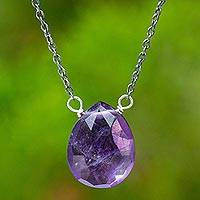 Amethyst pendant necklace, 'Joy Within' - Necklace with Amethyst on Sterling Silver with Gold Accents