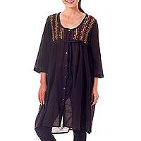 Cotton tunic, 'Lanna Mod' - Hand-embroidered Thai Flowers on Dark Brown Cotton Tunic