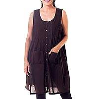 Cotton tunic, 'Thai Style' - Dark Brown Cotton Tunic in Dark Brown with 2 Pockets