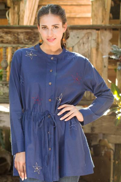 Cotton tunic, 'Starlit Sky' - Blue Cotton Tunic with Hand Embroidered Cotton Stars