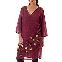 Cotton wrap tunic, 'Saffron Daisies' - Hand Embroidered Yellow Flowers on Maroon Cotton Wrap Tunic