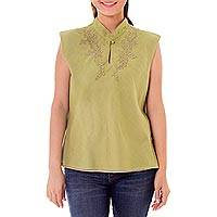 Cotton blouse, 'Mandarin Journey' - Thai Hand Embroidered Green Grey Sleeveless Cotton Blouse