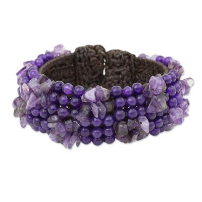 Amethyst quartz beaded bracelet, 'Boho Nature' - Amethyst Beaded Stretch Bracelet Crafted by Hand in Thailand