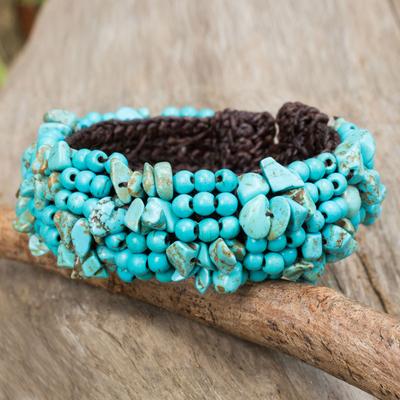 Calcite beaded bracelet, 'Boho Nature' - Artisan Crafted Calcite Beaded Stretch Bracelet Thailand