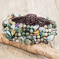 Jasper and amethyst beaded bracelet, 'Boho Nature' - Jasper and Amethyst Beaded Wristband Bracelet from Thailand
