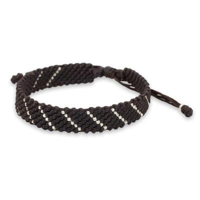 Modern Hill Tribe Silver Dark Brown Wristband Bracelet