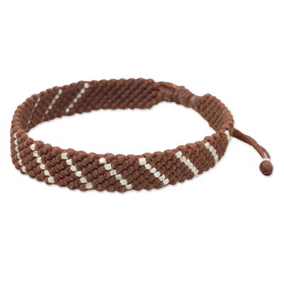 Hill Tribe Silver Modern Brown Macrame Bracelet