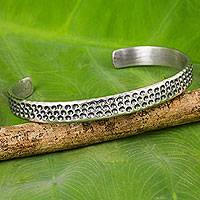 Sterling silver cuff bracelet, 'Nature's Way' - Slender Cuff Bracelet of Handcrafted Sterling Silver