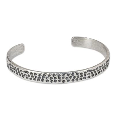 Slender Cuff Bracelet of Handcrafted Sterling Silver