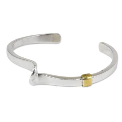 Sterling silver and brass cuff bracelet, 'Flow of Light' - Modern Handcrafted Sterling Silver Bracelet with Brass