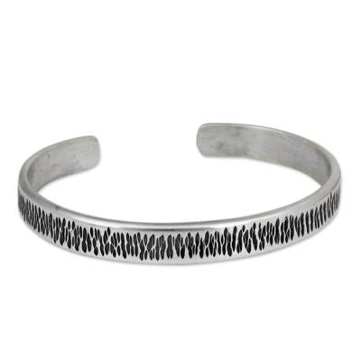 Thailand Cuff Bracelet of Handcrafted Sterling Silver