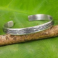 Sterling silver cuff bracelet, 'Gentle Winds' - Handcrafted Thai Textured Sterling Silver Cuff Bracelet