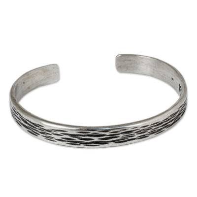 Handcrafted Thai Textured Sterling Silver Cuff Bracelet
