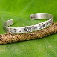 Sterling silver cuff bracelet, 'Posies and Pachyderms' - Thai Elephant Theme Cuff Sterling Silver Bracelet