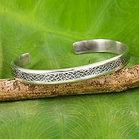 Sterling silver cuff bracelet, 'Forest Footpaths' - Thailand Sterling Silver Free Trade Cuff Bracelet