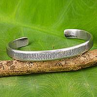 Sterling silver cuff bracelet, 'Gentle Sea Grass' - Free Trade Cuff Bracelet Sterling Silver from Thailand