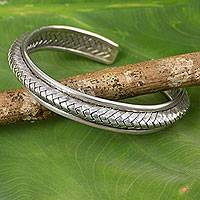 Silver cuff bracelet, 'Karen Glam' - Hill Tribe Artisan Crafted Silver Cuff Bracelet