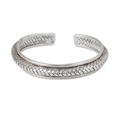 Silver cuff bracelet, 'Karen Glam' - Hill Tribe Artisan Crafted Silver Cuff Bracelet