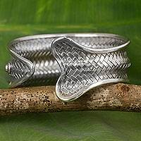 Silver cuff bracelet, 'The Fish' - Fish Shape Silver Cuff Bracelet Handmade Hill Tribe Jewelry