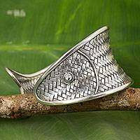 Silver cuff bracelet, 'The Wide Fish' - Handmade Silver Fish Shape Cuff Bracelet Hill Tribe Jewelry