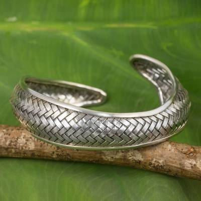 Silver cuff bracelet, Swimming Fish