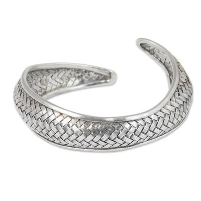 Silver cuff bracelet, 'Swimming Fish' - Handmade Silver Fish Cuff Bracelet Thai Hill Tribe Jewelry