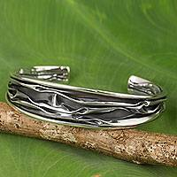 Sterling silver cuff bracelet, 'Narrow River'