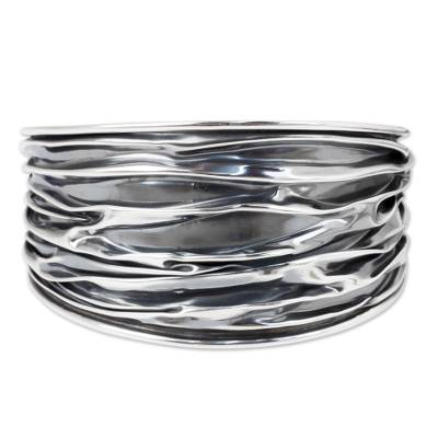 Sterling silver cuff bracelet, 'Wide River' - Textured Sterling Silver Cuff Bracelet Crafted by Hand