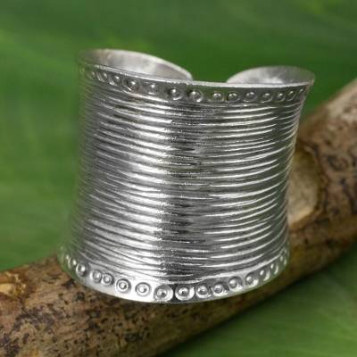 Sterling silver wrap ring, 'Hill Tribe Spectacular' - Sterling Silver Wide Wrap Ring Hand Crafted in Thailand