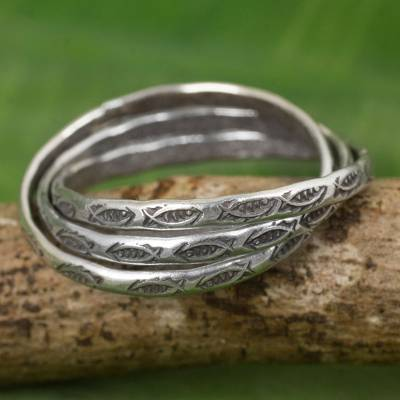 Silver band rings, 'Three Karen Rivers' (set of 3) - Set of 3 Interlinked Hill Tribe Silver Rings