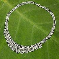 Sterling silver beaded necklace, 'Ruffles in Lace' - Beaded Sterling Silver Necklace Thai Artisan Jewelry