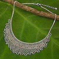 Sterling silver waterfall necklace, 'Ruffled Jasmine' - Thai Handcrafted Sterling Silver Waterfall Necklace