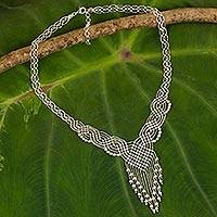 Sterling silver pendant necklace, 'Macrame Waterfall'