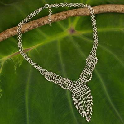 Sterling silver pendant necklace, 'Macrame Waterfall' - Thai Handcrafted Sterling Silver Pendant Necklace
