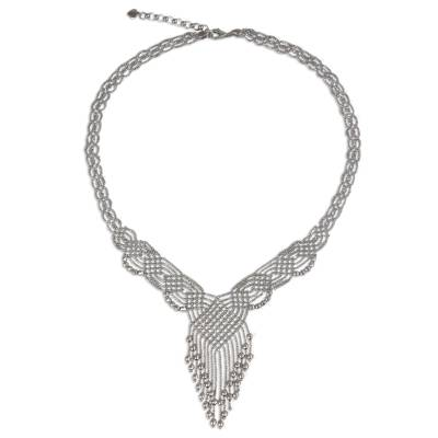Sterling silver pendant necklace, 'Macrame Waterfall' - Thai Handcrafted Sterling Silver Pendant Necklace