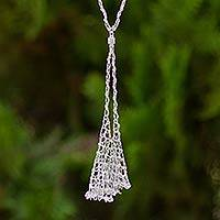 Sterling silver lariat necklace, 'Viennese Waltz' - Unique Sterling Silver Ball Chain Lariat Style Necklace