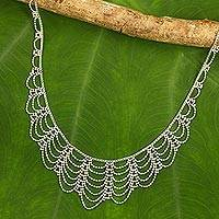 Sterling silver waterfall necklace, 'Elegant Lady' - Sterling Silver Artisan Crafted Thai Waterfall Necklace