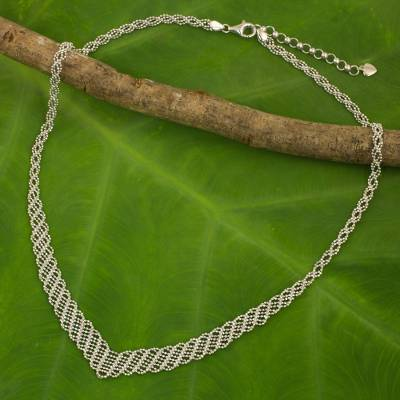 Sterling silver necklace, 'Woven Helix' - Hand Crafted Highly Polished Sterling Silver Woven Ball Chai
