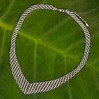 Sterling silver collar necklace, 'Precious Weave' - Woven Net Style Sterling Silver 925 Collar Necklace