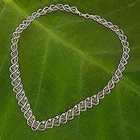 Sterling silver collar necklace, 'Lace Garland'