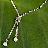 Cultured pearl and sterling silver lariat necklace, 'Lovely Lasso'