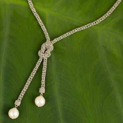 Cultured pearl and sterling silver lariat necklace, 'Lovely Lasso' - Unique Lariat Necklace with Cultured Pearls and Silver