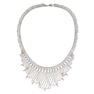 Sterling Silver Ball Chain Collar Necklace from Thailand